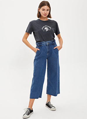 DeFacto Culotte Yüksek Bel Yıkamalı Jean Pantolon